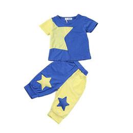 Wholesale Boy S Briefs - Summer boy clothes suit star T-shirt+pants 2 pieces 100% cotton kids short sleeve sport clothes suit 5 s l