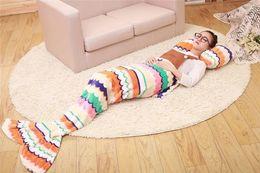 Wholesale Plaid Living Room - Kids Mermaid Blankets Children Sleeping Bag Baby Soft Mermaid Tail Blankets Nap Sofa Blankets Bedding Living Room Bedroom Blankets E3 50pcs