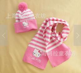 estola Rebajas El envío libre de la venta caliente bebé niña Autumnn y el invierno KT historieta tejida tira de bufandas y gorras set bufanda Emroidery Set envío gratis