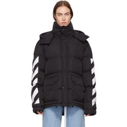 Wholesale Diagonal Zipper Men S - 17SS Off-White OW Black Down Brushed Diagonal Jacket Long sleeve down-filled nylon jacket in black Drawstrings at detachable hood