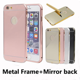 Wholesale Iphone 5s Aluminum Bumper Cases - Aluminum metal bumper frame electroplating acrylic Mirror Back cover case for iPhone 5 5s 6 6s 7 plus Samsung Galaxy s4 s5 s6 s7 edge plus