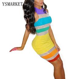 Wholesale Pencil Dress Color Block - 2017 Fashion Rainbow Color Block Print Mini Dress Casual Slim Elegant Tank Party Club Pinup Women Sleeveless Pencil Dress E3017
