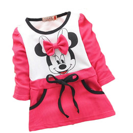 Wholesale Dress Roses Bottom - Wholesale- 2015 Girls Dress baby girls New Kids bottoming shirt long sleeve t-shirt rose red Autumn Children's Dresses Children's Clothing
