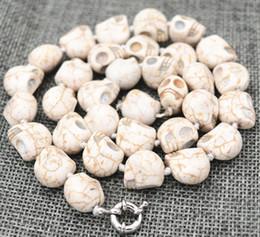 New 10x12mm Branco Turquesa Crânio cinzelado Cabeça Beads Colar Mala de
