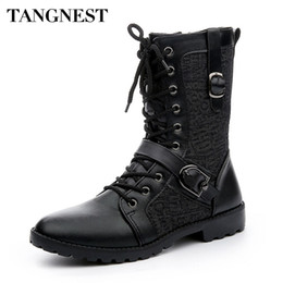 Wholesale red punk boots - Tangnest Autumn Punk Martin Boots Men Fashion PU Leather Lace-up Motorcycle Boots Black Vintage High Top Buckle Shoes Man XMX516