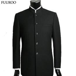 Wholesale tunic suits men - Wholesale- Men Suit Sets Chinese Tunic Suits Stand Collar Classic Suit Blazer Brand Design Business Formal Male Cotton Suit Sets Y0470