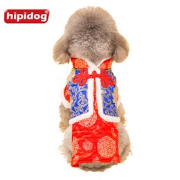 Wholesale Pet Tang Suit - Hipidog Puppy Chinese Traditional Cheongsam Tang Suit Coat Autumn Winter Warm Clothes for Small Dog Pet Supplies Dog Parkas