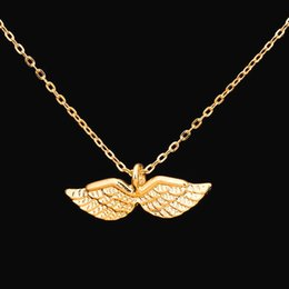 Wholesale Invisible Wings Pendant - Wholesale 10Pcs lot 2017 Top Sale Elegant Fashion Jewelry Pendant Angel Wings Gold Chains Charms Statement Necklaces for Women Wedding Gifts