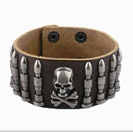 Wholesale Mens Wide Leather Cuff Bracelets - Punk Mens Leather Bracelet Wide Cuff Bracelets & Bangles Gothic Rock Skull & Bullet Antique Silver Baubles Charm Women Jewelry