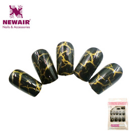 Wholesale Ongles Design - Wholesale- New Full Cover False Nails With Glue Short Fake Nails Tips Artificial Nail Faux Ongles Nail Art Design Women