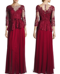 Wholesale Evening Dress Scalloped Chiffon - dark red mother of the bride dresses lace bodice and silk chiffon skirt evening gown 3 4 sleeve peplum waist Round neckline scalloped