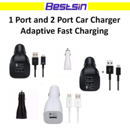 Wholesale Quick Single - Bestsin Adaptive Fast Charging Car Charger Single Dual Port with 1.5m V8 cable 1.2m Type C Cable For Samsung S6 S7 EDGE with LOGO