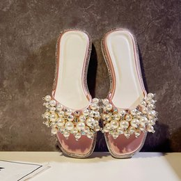 Wholesale Pink Slippers Large - Pearls Large Size Summer Slippers Open-toe Flat heel Shoes Plus Size 43 Women Slides Sandals Box Packing THES-768