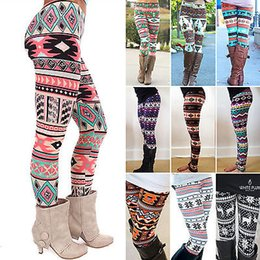 Wholesale Wholesale Womens Leggings - Wholesale- Womens Gilrls Fashion Colorful Floral Pattern Retro Knitted Leggings Pants Hot Women Trousers Xmas Clothes