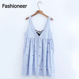 Wholesale Embroidery Cotton Dress For Women - Fashioneer Mini Dress For Woman Embroidery Striped Lace Up Deep V Neck Sleeveless Cotton Floral Sexy Summer Dresses For Women Lady S-L Size