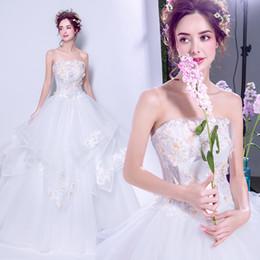 2019 dentelle sans bretelles tisser de haute qualité bas prix brodé en trois dimensions or robe de bal floral robes de mariage blanc ? partir de fabricateur