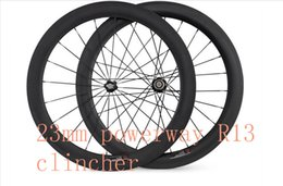 Wholesale Carbon Rear Wheel Clincher - free shipping carbon wheels road 60mm clincher wheels 700C width 23mm carbon powerway R13 hubs bike road bicycle wheelste