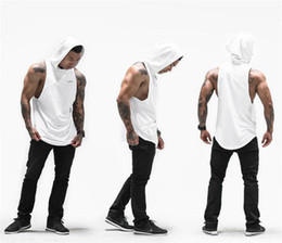 Wholesale Men Sexy Animal - Wholesale- Brand Gyms Clothing Fitness Men Tank Top with hooded Mens Bodybuilding Stringers Tank Tops workout Singlet Sleeveless Shirt