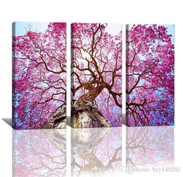 Wholesale Three Piece Painting Tree - YIJIAHE H167 Canvas Painting Art 3 Pieces Purple tree Wall Art Pictures Print On Canvas Become Paintings To Decorate Your House Office ect.