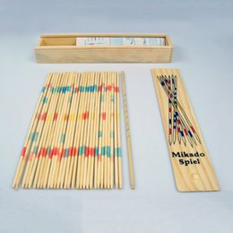 Wholesale Pick Up Sticks - Wholesale- Hot! Baby Educational Wooden Traditional Mikado Spiel Pick Up Sticks With Box Game New Sale