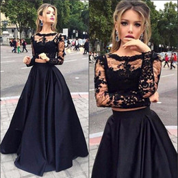 Wholesale Sleeved Formal Gowns - Black 2 Piece Prom Dresses Long 2017 Modest Sheer Long Sleeved Formal Evening Pageant Gowns Satin A-Line Party Dress