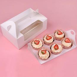 2019 rifornimenti della scatola dell'imballaggio della torta Scatola di cupcake di carta con finestra 6 fori muffin torta confezioni scatole matrimonio compleanno regalo titolare forniture per l'imballaggio ZA4021 sconti rifornimenti della scatola dell'imballaggio della torta
