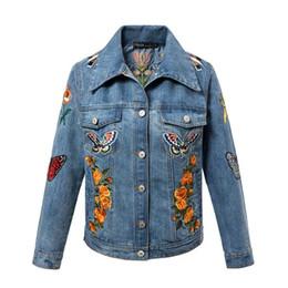 Wholesale Diamond Denim Jacket - New Hot Embroidery Plus velvet thick lambs wool denim jacket new female loose jacket.