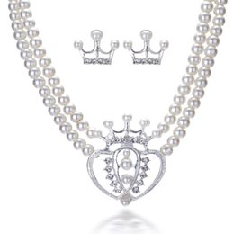 Wholesale Double Rows Pearl Necklace - Japan and South Korea popular double crown heart diamond pendant Double row imitation pearl necklace set bride