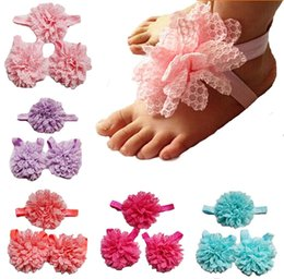 Wholesale Floral Design Photos - Hot Baby Girl Elastic Flowers Design Foot Band Ties Barefoot Sandals Chiffon Shoes Cheap Photo Props