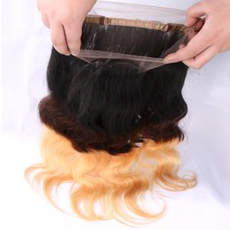 Wholesale Honey Blonde Indian Remy Hair - Ombre 360 Lace Frontal Closure Body Wave Human Hair T1b 4 27 Dark Root Brown Honey Blonde Three Tone Brazilian Virgin Remy Hair