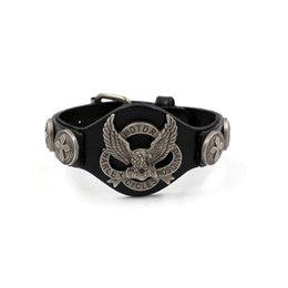 Wholesale Animal Bracelet Bangle - 2017 Ride To Live Bracelets Men Bracelet Genuine Leather Harley Rider Bracelet Mens Eagle Bracelets & Bangles Wristband