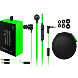 Wholesale Earphones Isolation - Razer Hammerhead Pro V2 Headphone in-ear Earphones nice sound With Microphone headsets Noise Isolation Stereo Bass 3.5mm Retail Box