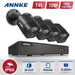 Wholesale Outdoor Surveillance Cameras Systems - ANNKE HD 4CH 4PCS 1080N DVR 720P HD Outdoor Indoor Monitor IR CUT Night Vison Waterproof Camera Home Surveillance System