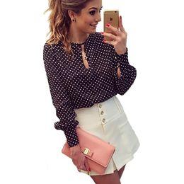 Wholesale plus size polka dot top - 2017 Plus Size Women Shirt Tops Spring Sexy Chiffon Blouses Long Sleeve Dot Black Navy Blue O-neck Puff Sleeve Party Work Blouse