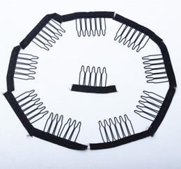 Clip marrone parrucche online-6 parrucche dell'acciaio inossidabile dei pettini 10pcs pettini neri di colore del Brown di colore per le parrucche 10pcs delle parrucche per fare le parrucche