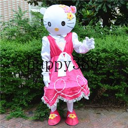 Wholesale Princess Mascot Costumes - 2017 new high quality pink stripe Christmas Easter kt mascot costume adult size princess masked ball factory