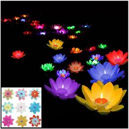 Wholesale lantern lotus - Romantic lotus lamps,wishing lantern water floating candle light,birthday wedding party decoration supplies,Free shipping
