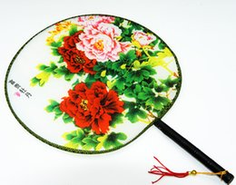 Wholesale China Car Fans - Tassel Flower Handle Round Fan Chinese Silk Palace Hand held Fans Crafts Gift Women's Ethnic Dance show props