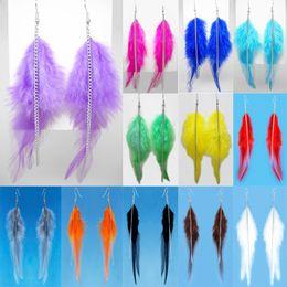 Wholesale orange feather earrings - Feather Earrings 12 Colors wholesale lots Cute Charm Chain Light Dangle Eardrop Hot New ( Deep Pink Lavender Sky Blue Yellow Orange )(JF290)