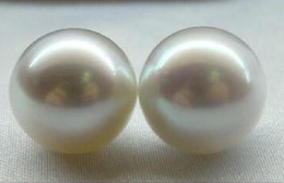 Wholesale Huge Round Pearls - PAIR OF HUGE PERFECT ROUND SOUTH SEA 13MM WHITE LOOSE PEARL UNDRILLEDPAIR OF HUGE PERFECT ROUND SOUTH SEA 13MM WHITE LOOSE PEARL UNDRILLED