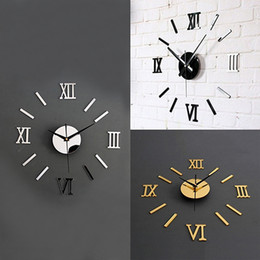 Wholesale Home Decor Sticker Wall Clock - Wholesale-3D Acrylic Mirror Surface Roman Numerals Wall Clock Stickers Home DIY Decor