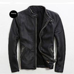 Wholesale Leather Jackets For Men 5xl - 2017 New Slim Fit Leather Jackets For Men Vintage Black Stand Collar Genuine Cowhide Short Male Winter Biker Coat FREE SHIPPING