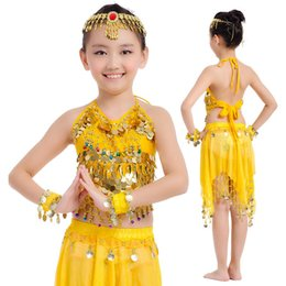 Wholesale Kids Sparkles Clothing - Girls Yellow Belly Professional Kids Dance Clothing Sparkling Sequin Double Tassel Dancing Latin Dresses Rumba Salsa Pendant Clothes Dancer
