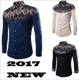 Wholesale Floral Designs Patterns - 2017 New Arrival Men Shirt Pattern Design Long Sleeve Floral Flowers Print Slim Fit Man Casual Shirt Fashion Clothing M-4XL RF0072