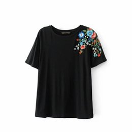 Wholesale Tee Shirt Collar Design - Fashion Eelgant Summer Lady Embroidery shoulder tee shirt Patchwork Design Ladies Short-sleeved Tops Female round collar T-shirt