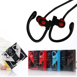 Wholesale Earhook Earphones - BT-7 Bluetooth Sports Earphone Earhook Earbuds Stereo Wireless Neckband Sports earphone Headset Headphone with Mic for Iphone 6 7 s8