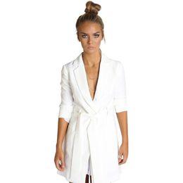Wholesale Elegant Jackets Women - White Casual Women Slim Suit Blazer Tie Waist Basic Female Blazer Suit Jacket Elegant Preppy Chic Coat Blazer