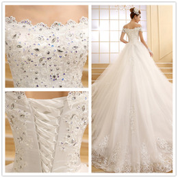 Wholesale Organza Court - vestido de novia 2017 SSYFashion the Bride Marrige Lace Embroidery Beading A-line Court Train Plus Size Luxury Wedding Dresses Custom Made