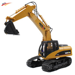 Wholesale Electric Truck Toys - Wholesale- RC Excavator 15 CH 2.4G Alloy Electric Remote Control Excavator USB Charging Led Flashing Light and Sound Truck Model Toy