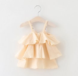 Wholesale Wholesale Solid Tank Dress - Baby girls tank top summer new children tiered falbala suspender tops toddler kids cotton vest girls princess dress shirt kids clothes A0296